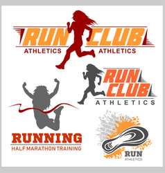 Run sport club logo templates set emblems for vector