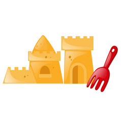 Sandcastle and red fork vector