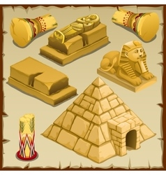 Sarcophagus and the pyramid symbols of ancient vector