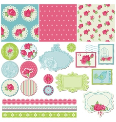 Scrapbook Design Elements - Rose Flowers vector image