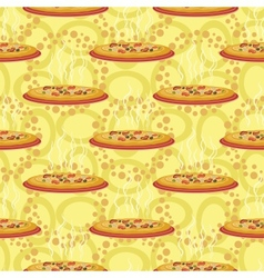 Seamless background hot pizza vector image