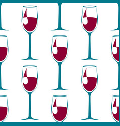 Seamless pattern with blue wineglass with wine vector