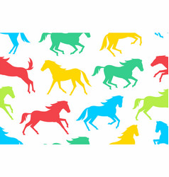 seamless pattern with colorful horses silhouettes vector image