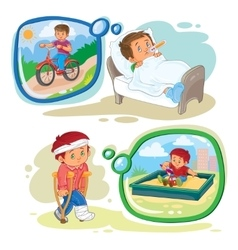 Set clip art little boy sick vector