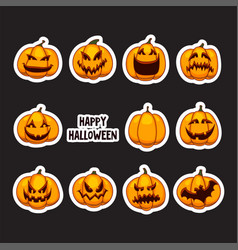 Set of halloween pumpkins stickers part of great vector
