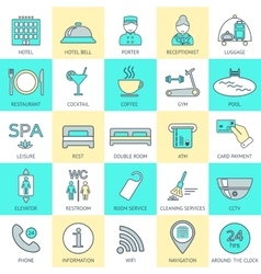 Set of hotel icons line Hotel service Logo vector image