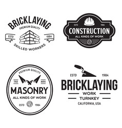 Set vintage construction and bricklaying labels vector