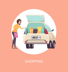 shopping female shopaholic woman with bags vector image