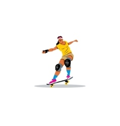 Skateboarder girl jumping sign vector image vector image