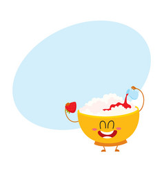 Smiling cottage cheese bowl character pouring vector