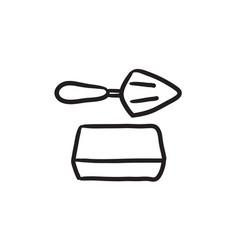 Spatula with brick sketch icon vector