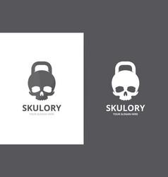 sport and skull logo combination unique vector image