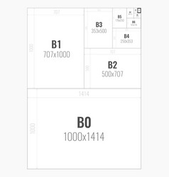 Standard paper sizes b series from b0 to b10 vector