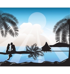 Summer Beach view Card vector