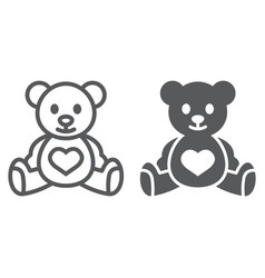 Teddy bear line and glyph icon child and toy vector