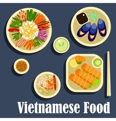 Traditional dishes of vietnamese cuisine flat icon vector image