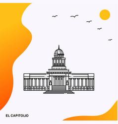 Travel el capitolio poster template vector
