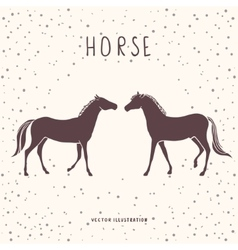 Two horses silhouette vector image