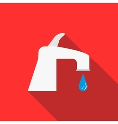 Water tap with drop icon flat style vector