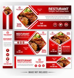 Web banner set for restaurant vector
