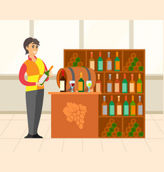 wine shop with huge collection bottles vector image