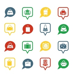 Bag icons in speech bubbles for app vector image vector image