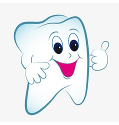 cartoon tooth vector with thumb vector image vector image