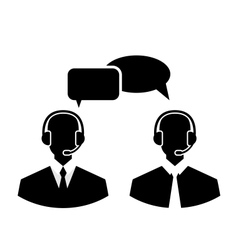 Flat icons of call center silhouette mans vector