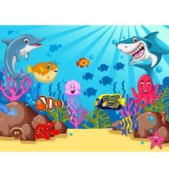 funny cartoon sea life for you design vector image vector image