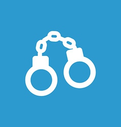 handcuffs icon white on the blue background vector image