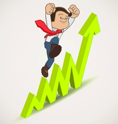 Happy businessman jump over growing chart vector image vector image