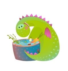 Kids vegetarian baby dragon eating cooking fun vector image