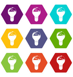 light bulb and planet earth icon set color vector image
