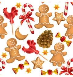 Seamless pattern of Christmas sweets vector image vector image