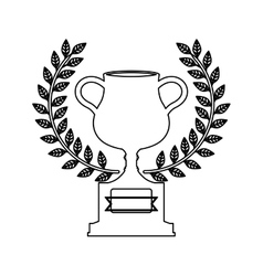 silhouette monochrome trophy cup with olive crown vector image vector image