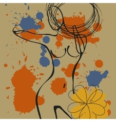 Art background with paint drops and nude woman vector image vector image