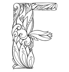 Black and white freehand drawing capital letter f vector