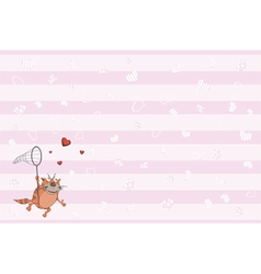 Cat and hearts postcard vector image vector image