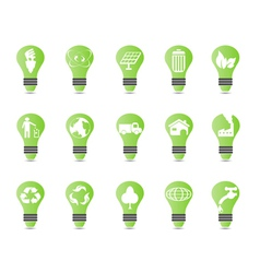 green light bulb icon set vector image