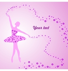 Greeting card with tender ballerina holding a vector image