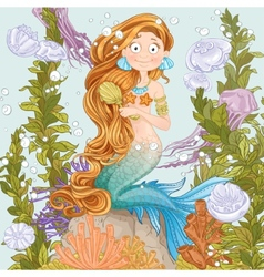 Mermaid combing long hair on undersea background vector image vector image