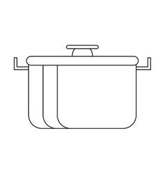 outline pot food element camping vector image