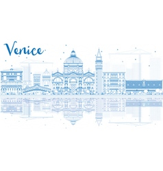 Outline Venice Skyline Silhouette vector image vector image