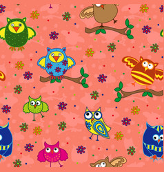 seamless pattern with ornamental owls over vector image vector image