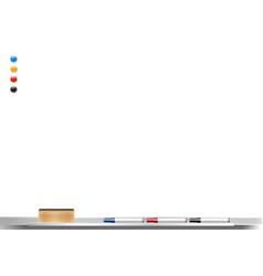 whiteboard background frame with eraser and marker vector image