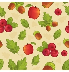 Background with acorn leaf berry apple vector image vector image