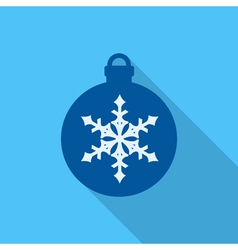 Christmas ball flat icon on blue background vector image vector image
