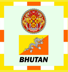 official ensigns flag and coat of arm of bhutan vector image