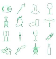 Simple outline wine icons set eps10 vector