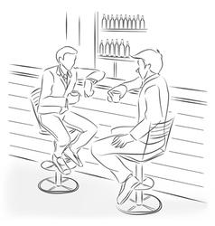 Two men sit at a bar counter vector image